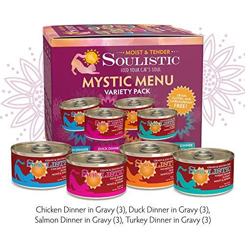 Soulistic Moist & Tender Mystic Menu Variety Pack Wet Cat Food, 3 oz, Count of 12 (Menu Variety Pack)