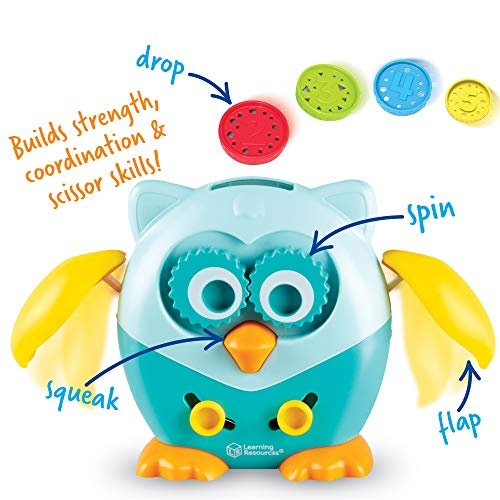 Learning Resources Hoot the Fine Motor Owl, Color, Shapes and Number Development, Scissor Skills, 6 Pieces, Ages 18 Months +