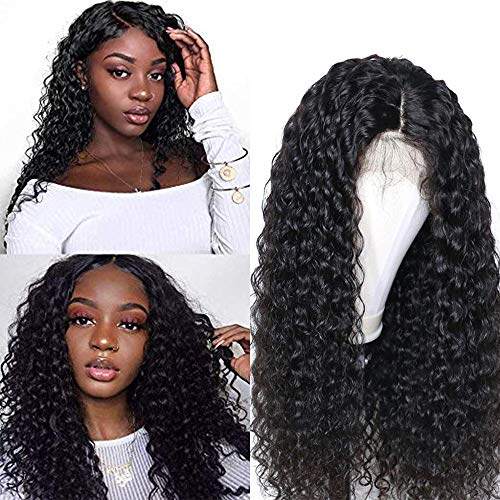 Larhali Brazilian 13x6 Deep Wave Lace Front Wigs Human Hair Pre Plucked Lace Front Deep Curly Wigs with Baby Hair Glueless Lace Wigs for Black Women 150% Density Unprocessed Virgin Human Hair(26inch)