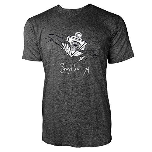SINUS ART ® Hände mit dem allsehenden Auge Herren T-Shirts in dunkelgrau Fun Shirt mit tollen Aufdruck