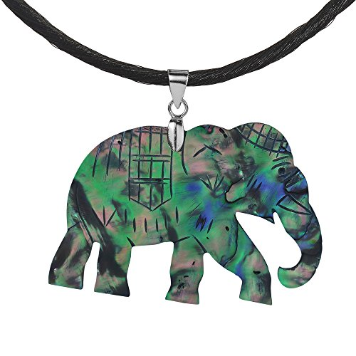 - AeraVida Spirit of Strength Elephant Hand Carved Abalone Shell .925 Sterling Silver Silk Necklace