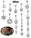 JOERICA 10Pcs 14G Stainless Steel Belly Button Rings for Women Flower Body Jewelry CZ Navel Piercing Silver-tone