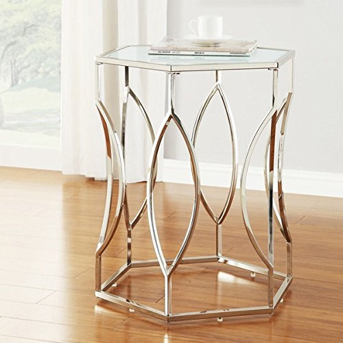 - INSPIRE Q Davlin Hexagonal Stylish Glam Metal Chrome Frosted-glass Accent End Table