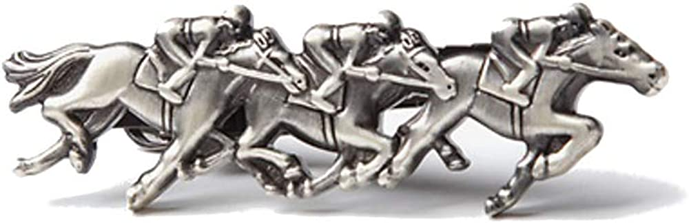 "Men's Premium Antiqued Silver Horse Racing Race Derby 2"" Metal Tie Bar Clip"