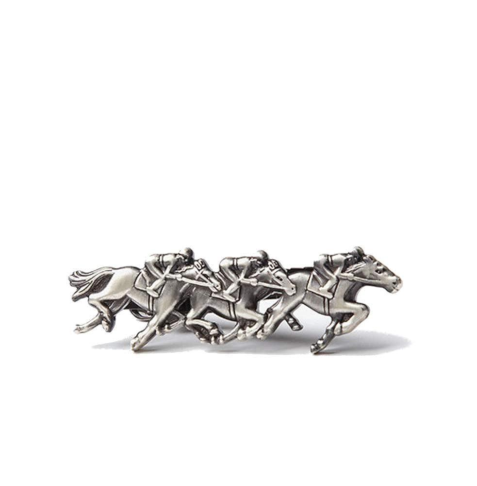 Mens Premium Antiqued Silver Horse Racing Race Derby 2 Metal Tie Bar Clip