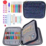 Teamoy Ergonomic Crochet Hooks Set, Knitting Needle Kit, Zipper Organizer Case With 9pcs 2mm to 6mm Soft Grip Crochets and Complete Accessories, Small Volume and Convenient to Carry, Colorful Dots