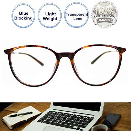 Computer Glasses for Women Blue Blocking Round Light Weight Comfortable Fit Anti Eye Strain Anti Glare UV - On Eyeglasses Try Tool