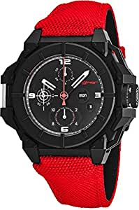 Snyper One PVD Black Stainless Steel Chronograph Automatic Watches For Men Swiss Made - 43mm Analog Black Face with Day Date Sapphire Crystal Red Fabric Band All Black Mens Watch 10.200.00