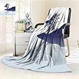 YOYI-HOME Throw Microfiber Duplex Printed Blanket Nature Silhouette of Lonely Tree by Lake with Mirror Effects Melancholy Indigo Baby Blue Anti-Static,2 Ply Thick,Hypoallergenic/W47 x H59