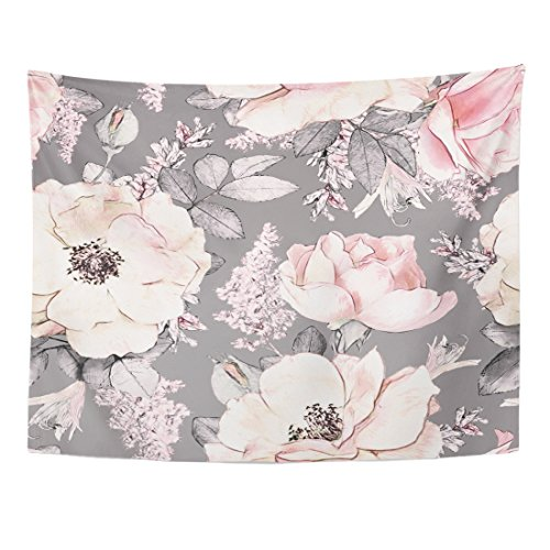 TOMPOP Tapestry Pink Flowers and Leaves on Gray Watercolor Floral Pattern Rose in Pastel Color Tileable Home Decor Wall Hanging for Living Room Bedroom Dorm 60x80 -