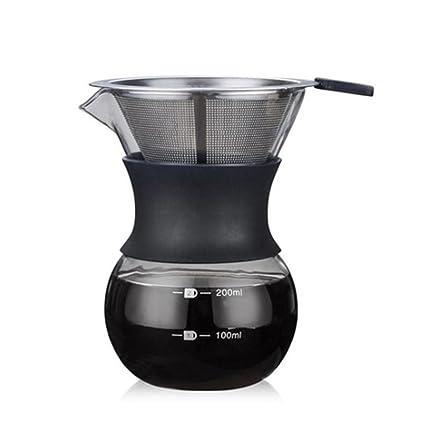 Per 400ml Cafeteras de Goteo Cristal Resiste Calor Jarra para Café con Filtro Acero Inoxidable Cafeteras de Manual (200ml)