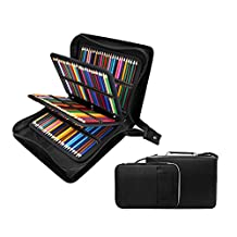 210 Slots Pencil Case & Extra 100 Slots Pencil Layer Holder - Bundle for Prismacolor Watercolor Pencils, Crayola Colored Pencils, Marco Pens and Cosmetic Brush by YOUSHARES®