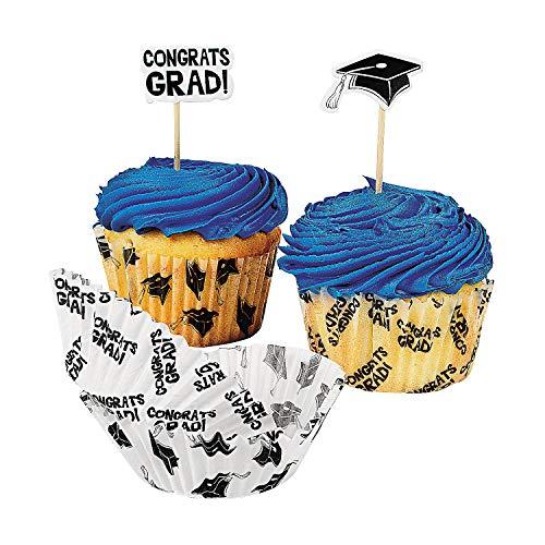 Fun Express Congrats Graduation Cupcake Liners and Picks - 100 Pack -