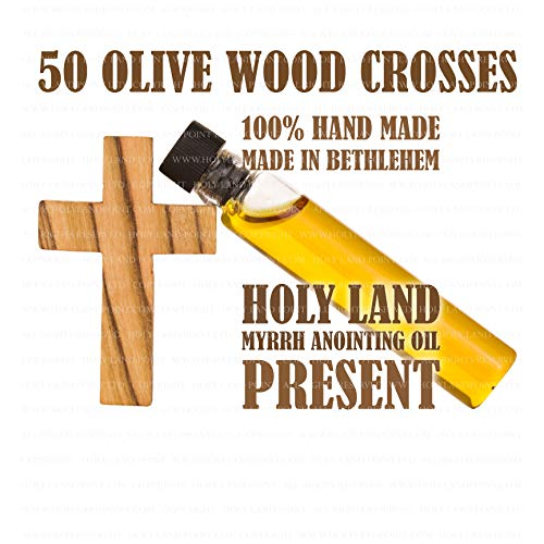 50 Small Holy Land Olive Wood Crosses 1.31 inch with Small Bottle of Holy Land Anointing Oil - Cross Land
