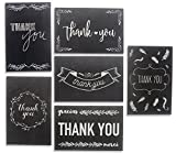 Thank You Greeting Cards - Black and White Chalkboard Design Pack of 48 - 4 x 6 inches - 6 Unique Designs - by Juvale