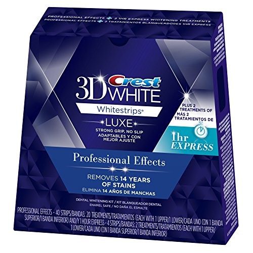 Crest 3D White Luxe Whitestrips Professional Effects – 20 Treatments and White Whitestrips 1 Hour Express – 2 Treatments Teeth Whitening Kit 514rrQ0c8SL
