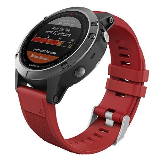 MoKo Garmin Fenix 5 Quick Fit 22mm Watch Band, Soft Silicone Replacement Strap for Garmin Fenix 5/5 Plus/Instinct/Forerunner 935/Aproach S60 Smart Watch, (Not Fit Fenix 5X 5S), Dark Red