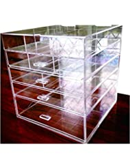 """Cq acrylic Large Beauty Cube 5 Tier Drawers Acrylic Cosmetic Organizer Handmade Multi Function Makeup Organizer Storage,10""""x10""""x11"""",Pack of 1"""