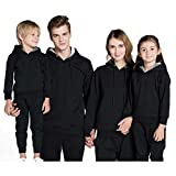 Meedot Family Matching Hoodies, Cotton Solid Color Long Sleeve Father Mother Kids Tops Sweater