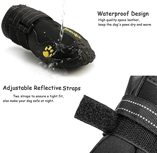 Bottes pour Chien de Protection, Lot de 4 étanche Chaussures de Chien pour Chiens de Taille Moyenne et Grande - Noir