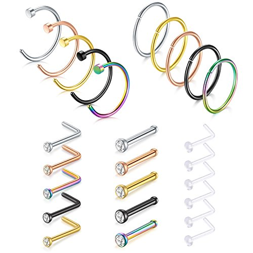 Ring 18g Nose (Briana Williams 26pcs 18G 316L Stainless Steel Nose Rings Hoop Nose Studs Cartilage Hoop Tragus Ear Piercing 8mm)