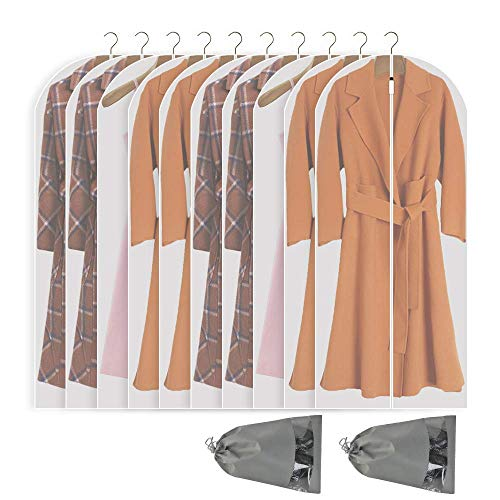 Garment Bags Storage - Perber Hanging Garment Bag Lightweight Clear Full Zipper Suit Bags (Set of 10) PEVA Moth-Proof Breathable Dust Cover for Closet Clothes Storage -White 24''55''/10 Pack