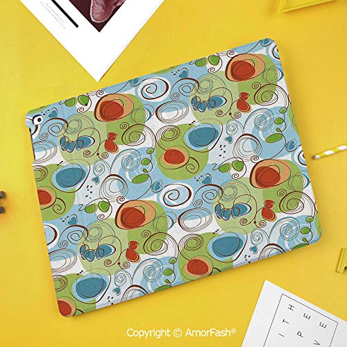 Case for Samsung Galaxy Tab S4 10.5 T830 T835 T837 Kids Safe Shockproof,Modern Decor,Floral Flowers with Geometrical Abstract Funky Swirls Image,Light Green Blue and White