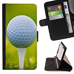King Air - Premium PU Leather Wallet Case with Card Slots, Cash Compartment and Detachable Wrist Strap FOR Samsung Galaxy G360 G3608 G3606- Golf Ball Sport Tiger
