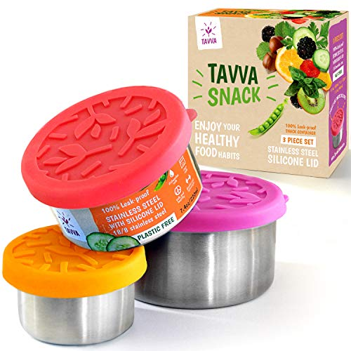 TAVVA Stainless Steel Food Containers - Plastic Free | Leakproof Toddler Lunch Box | Silicone Lids | Reusable | Tupperware Containers - Also Suitable as Kids Lunch box and To Go Containers [Set of 3]