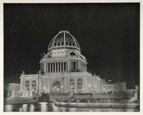 1893 Chicago World's Fair Architecture Administration Building Night View - Original Halftone Print by PeriodPaper...