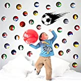 Soccer Wall Decal Sticker International Nation Flag Football Country Flag Removable Home Decal Decor Murals Art Living Room Family Vinyl Peel Stick Décor Nursery Room Party (Soccer)