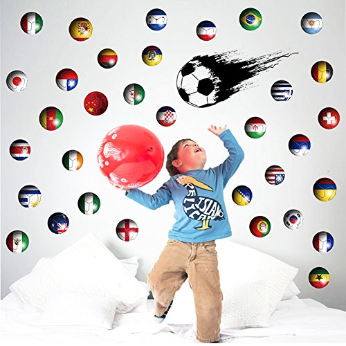 Soccer Wall Decal Sticker International Nation Flag Football Country Flag Removable Home Decal Decor Murals Art Living Room Family Vinyl Peel Stick Décor Nursery Room Party (Soccer) by Cool Wall Decal Sticker Vinyl