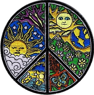 (Dan Morris Novelty Iron On Patch - Ornate Peace Sign w/ Sun & Moon)