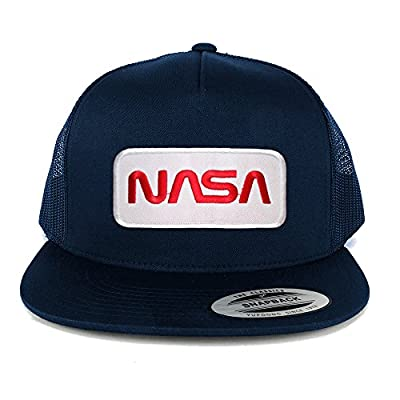 Armycrew Flexfit 5 Panel NASA Worm Red Text Embroidered Patch Snapback Mesh Trucker Cap
