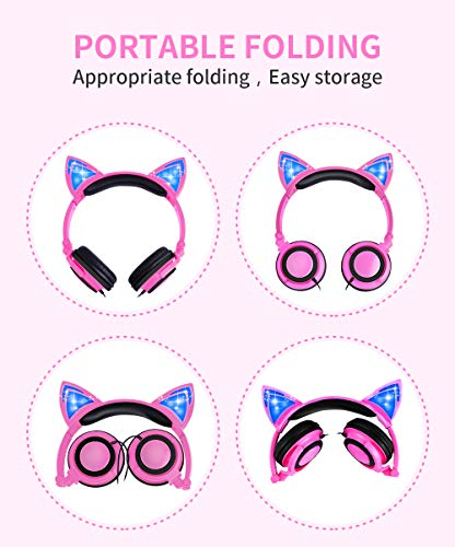 Kids Headphones with LED Cat Ear Wired Headphones Over Ear Children fold-able Head phone for girls (1062-Pink)