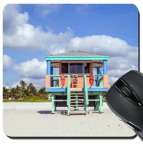 MSD Suqare Mousepad 8x8 Inch Mouse Pads/Mat design 25001697 wooden colorful beach watch hut at the beautiful white - Hut Usa Watch