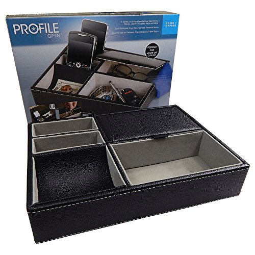 Profile Gifts 10 Inch Black Leatherette Valet Tray - 5 Compa