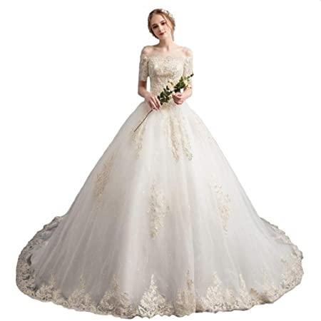 e26b81bdeb Wedding dress Women s Strapless Small Trailing Sleeve Ailin home (Color     001