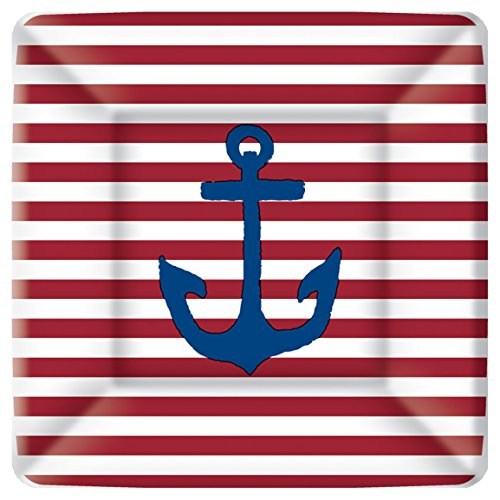 Boston International Yacht Club Square Paper Dessert Plates, 8-Count, 7 x 7-Inches, Red Anchor