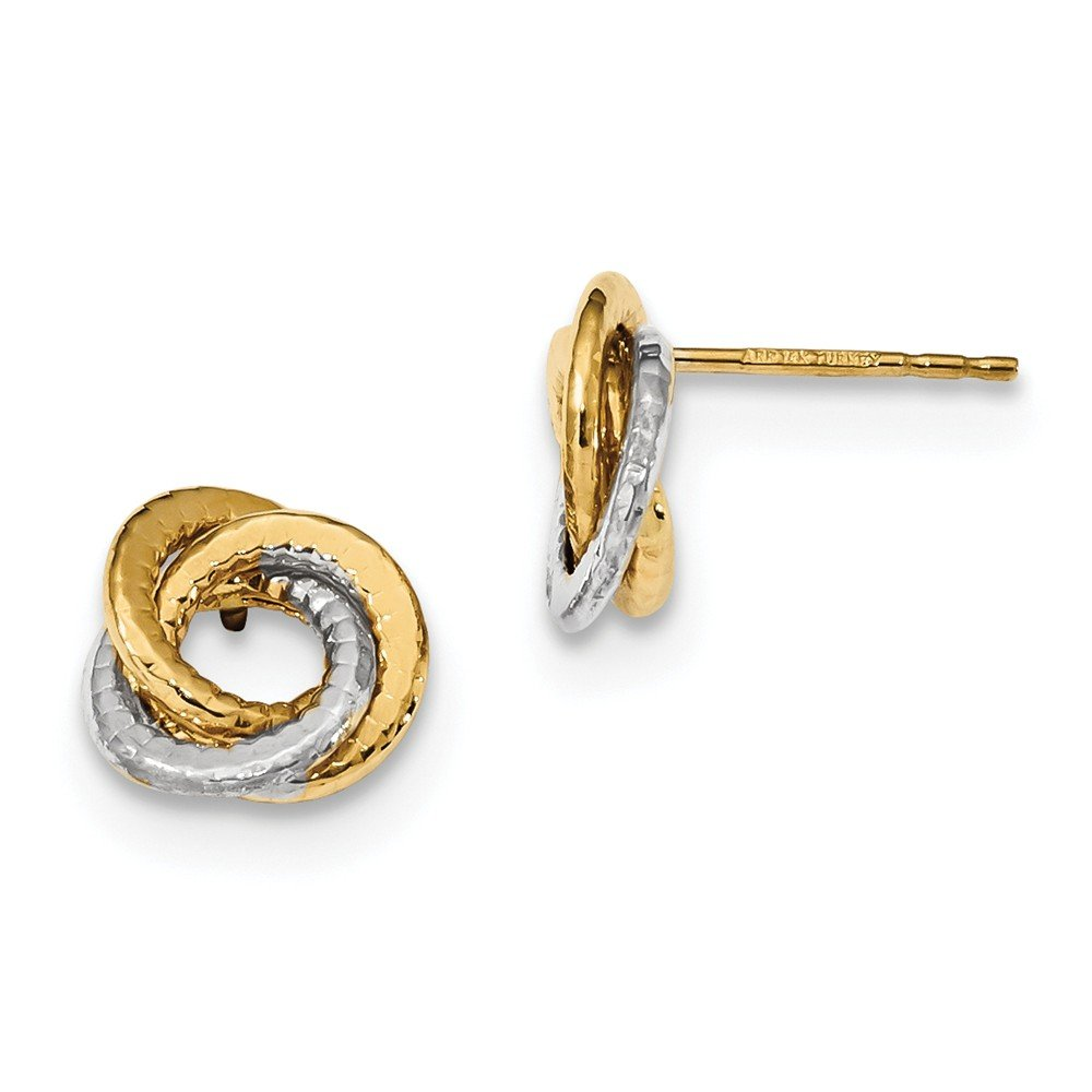 14kt Two-Tone Polished & Textured Love Knot Post Earrings