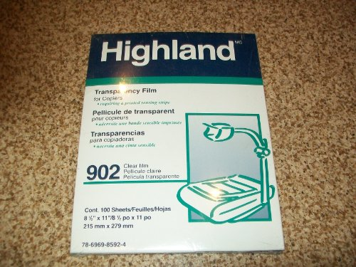 Highland Transparency Film 100 Sheets 8 1/2 x 11 for 902 (3m Highland Transparency Film)
