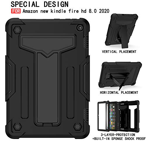 EpicGadget Case for Amazon Fire HD 8 / Fire HD 8 Plus (10th Generation, 2020 Released) - Heavy Duty Hybrid Protective Case Cover with Kickstand + 1 Screen Protector and 1 Stylus