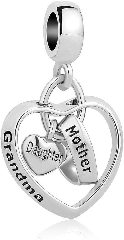 Sug Jasmin Breloque en Forme de c/œur pour Bracelets /à Breloques Inscription Mother Daughter Grandma