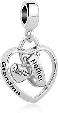 Amazon Com Charmsstory Mom Mother Daughter Heart Love Dangle Charm Beads For Snake Chain Bracelet Grandma Mother Daughter Jewelry