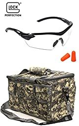 Glock Range Kit: Clear Shooting Eye Protection Glasses + String Soft Foam Noise Sound Ear Earplugs w/ Storage Case + Ultimate Arms Gear ACU Heavy Duty Travel Large Gear Bag With Magazine Ammo Pouches