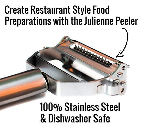 UberChef Erg Premium Ultra Sharp Julienne Peeler & Vegetable Stainless Steel Ergonomic, Potato Apple Peeler-Cleaning Brush In, Silver