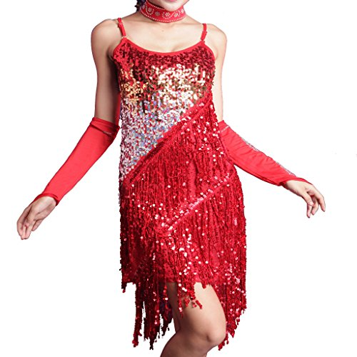 Wuchieal Girls Latin Dress Glitter Sequin Gowns Backless Party Full Dress Prom Dress Red