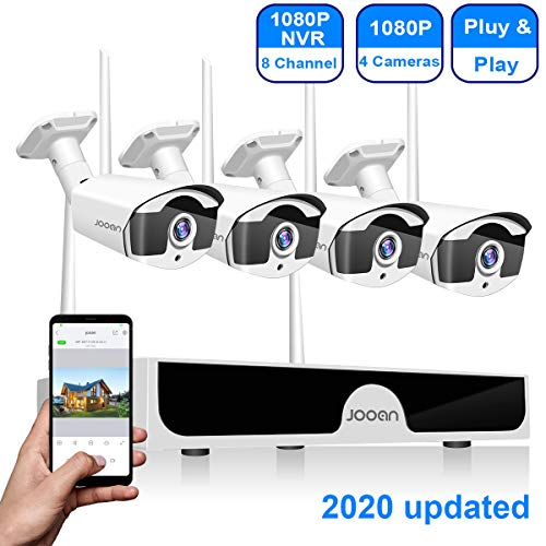 Security Camera System Wireless JOOAN 8-Channel HD 1080P NVR with 4Pcs 1080P Wireless Camera, home outdoor WiFi Camera System Waterproof Good Night Vision System With Motion Dectection & Email Alarm