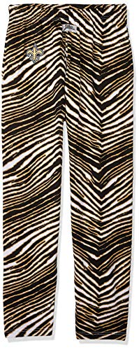 Zubaz NFL New Orleans Saints Men's Classic Zebra Printed Athletic Lounge Pants, Black/Burnished Gold XX-Large