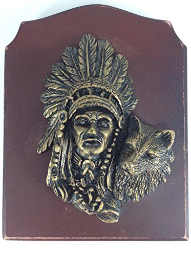 - Wall Decor American Indian Red Indian Wolf Wall Plaque Vintage Produce Crate Label